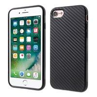 Carbon Fiber iPhone 7 8 TPU hoesje zwarte opdruk