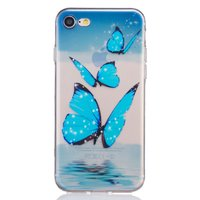 Blauwe vlinder TPU iPhone 7 8 TPU hoesje case