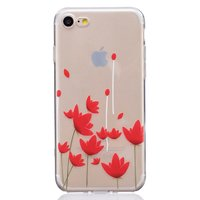 TPU hoesje iPhone 7 8 SE 2020 opdruk klaproos case rode bloemen