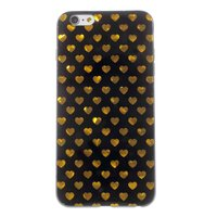 Zwart gouden hartjes hoes iPhone 6 6s cover