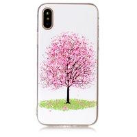 Roze bloemenboom iPhone X XS hoesje bloesem TPU case