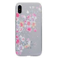 Pasteltint bloementakken doorzichtig TPU iPhone X XS hoes cover