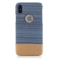 Stofblauw leerbruin combinatie hoesje iPhone X XS hardcase cover