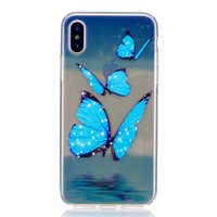 Ijsblauw doorzichtig vlinder TPU iPhone X XS hoesje case