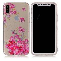 Roze bloemen doorzichtig iPhone X XS hoesje case cover