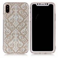 Doorzichtige sierlijke witte lijnen iPhone X XS hoesje case cover