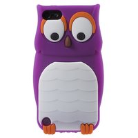 Paarse uil 3D silicone iPod Touch 5 6 7 hoesje