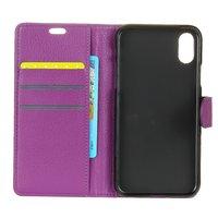Paars wallet iPhone X XS portemonnee case lederen hoesje - Bookcase