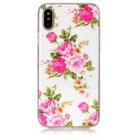 Bloemen hoesje TPU iPhone X XS rozen wit roze case