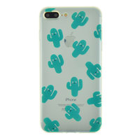 Doorzichtig cactus TPU hoesje iPhone 7 Plus 8 Plus case cover