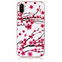 Hoesje iPhone X XS rode takken bloemen lente TPU wit