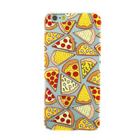 Transparant Pizza hoesje iPhone 6 6s case cover TPU doorzichtig