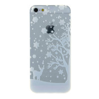 Wit winter kerst silicone iPhone 5 5s SE 2016 hoesje case cover