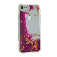 Doorzichtige paars glitter hardcase iPhone 7 8 hoesje case cover