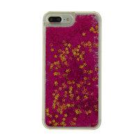Doorzichtige paars glitter hardcase iPhone 7 Plus 8 Plus hoesje cover