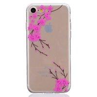 Doorzichtige roze bloem tak silicone iPhone 7 8 hoesje case cover