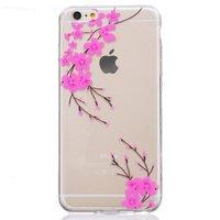 Doorzichtige roze bloem tak silicone iPhone 6 6s hoesje case cover