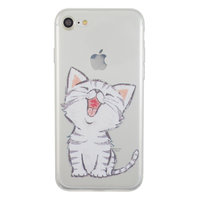 Doorzichtig wit katje silicone iPhone 7 8 hoesje case cover