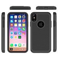 Beschermende hardcase nopjes grip hoesje zwart iPhone X cover