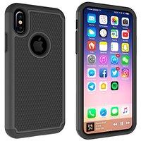 Beschermende iPhone X XS hardcase nopjes grip hoesje zwart cover