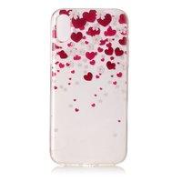 Hartjes hoesje iPhone X XS roze rode case TPU doorzichtig