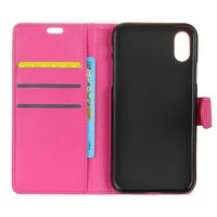 Roze portemonnee hoes lederen wallet iPhone X
