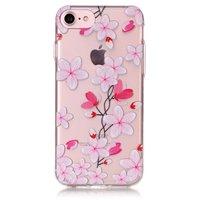 Doorzichtig roze rode bloemen iPhone 7 8 hoesje TPU case cover