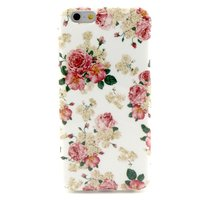 Wit roze rozen bloemen klassiek iPhone 6 6s hoesje case cover
