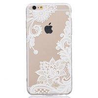 Transparant witte bloemen kant iPhone 6 6s hoesje case cover mandela