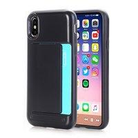 Stevig zwart hoesje iPhone X XS case pasjeshouder