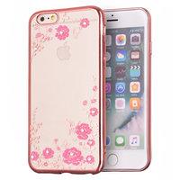 Roze TPU hoesje bloemen vlinders case iPhone 6 6s