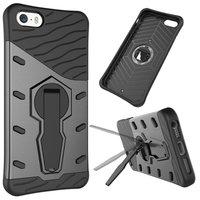 Zwart grijze Armor hybride kickstand iPhone 5 5s SE hoesje case cover