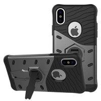 Zwart grijze Armor kickstand iPhone X XS hoesje case cover
