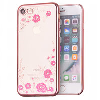 Rosé goud roze bloemen iPhone 7 8 SE 2020 TPU hoesje case cover