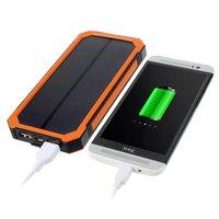 Zon oplaadbare oranje zwarte powerbank 10000 mAh outdoor accu solar