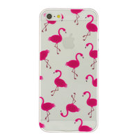 Transparant Roze flamingo TPU hoesje iPhone 5 5s SE case cover