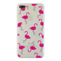 Transparante Roze flamingo hoesje iPhone 7 Plus 8 Plus case cover