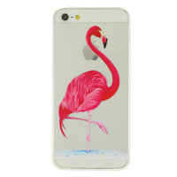 Transparante roze flamingo TPU iPhone 5 5s SE 2016 hoesje case cover
