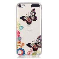 Kleurrijk hoesje vlinders bloemen iPod Touch 5 6 doorzichtig case