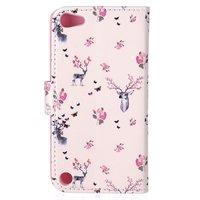 Roze herten wallet hoesje iPod Touch 5 6 leder TPU Bookcase