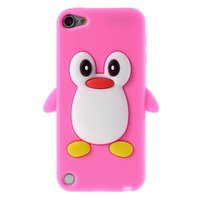 Pinguin iPod Touch 5 6 7 hoesje penguin roze silicone 3d