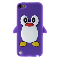 Pinguin iPod Touch 5 6 7 hoesje penguin paars silicone 3d