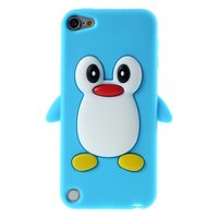 Pinguin iPod Touch 5 6 hoesje penguin lichtblauw silicone 3d