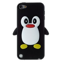 Pinguin iPod Touch 5 6 7 hoesje penguin zwart silicone 3d