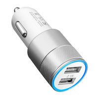 Universele Silver Car Charger - Dual USB 2.4 Ampère - Autolader zilver