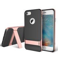 Rock Royce series Rosé iPhone 7 8 hoesje case - roze goud - Zwart - Kickstand