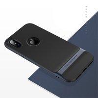 Rock Royce series Navy Blue iPhone X hoesje case - Blauw - Zwart
