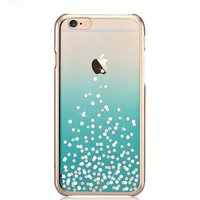 COMMA stippen iPhone 6 6s hoesje - Swarovski kristallen - Aquablauw Chroom