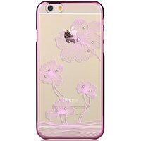 COMMA bloemen iPhone 6 6s hoesje - Swarovski kristallen - Lila Paars Chroom