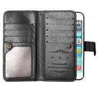 XL Wallet hoesje iPhone 6 6s lederen portemonnee cover zwart - 10 pasjes